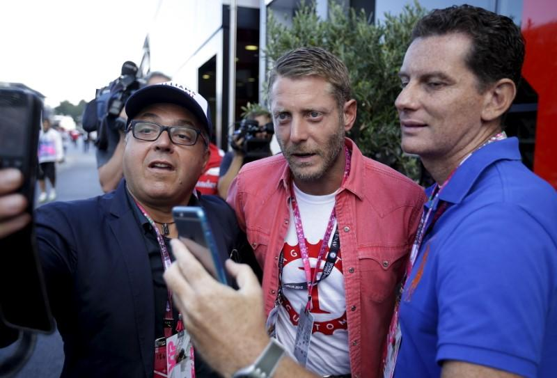 Lapo Elkann poses for a selfie in the paddocks during the Italian F1 Grand Prix in Monza