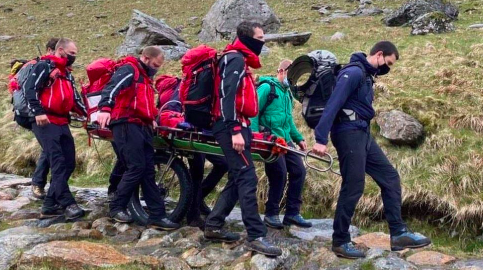The two women were treated for injuries form a lightning strike at the Snowdon summit, (Llanberis Mountain Rescue Team)