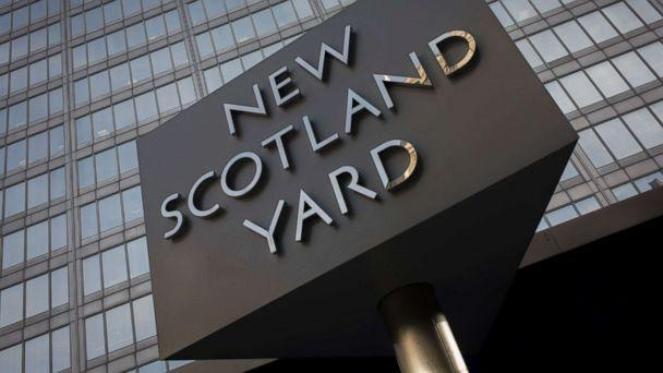 PHOTO: The Metropolitan Police's revolving sign their headquarters at New Scotland Yard in Westminster, London. (In Pictures Ltd./Corbis via Getty Images)