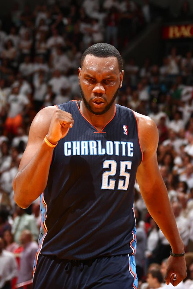 MIAMI, FL - APRIL 23: Al Jefferson #25 of the Charlotte Bobcats during a game against the Miami Heat in Game Two of the Eastern Conference Quarterfinals of the 2014 NBA playoffs at American Airlines Arena in Miami, Florida on April 23, 2014. (Photo by Nathaniel S. Butler/NBAE via Getty Images)