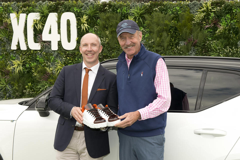 Robin Page, VP of Design for Volvo, and Stan Smith at the Volvo booth at the Concours d'Elegance in Hilton Head, S.C. (Photo: Courtesy of Volvo)