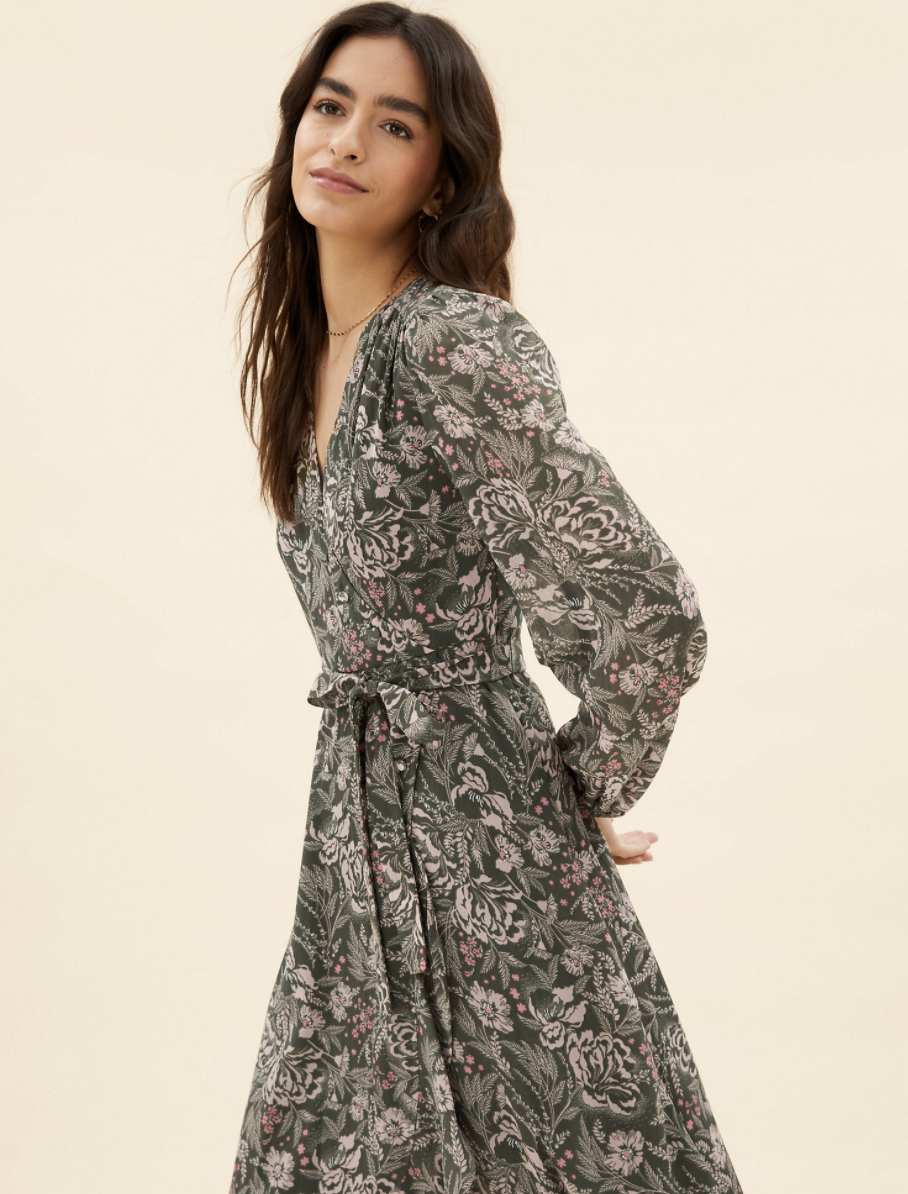 The design includes a flattering V-neck silhouette and detachable belt to cinch in the waist. (Marks & Spencer)