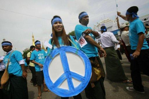 At least 200 people participated in a colourful rally to mark the International Day of Peace, in Yangon