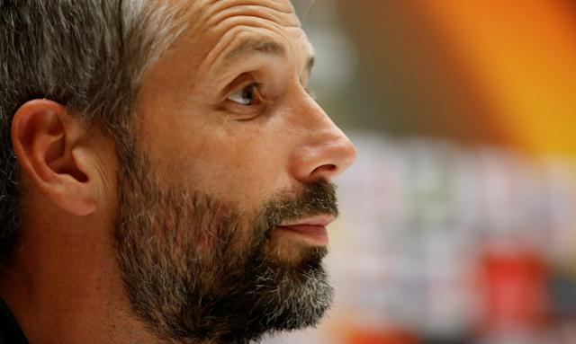 Soccer Football - Europa League - RB Salzburg Press Conference - Orange Velodrome, Marseille, France - April 25, 2018 RB Salzburg coach Marco Rose during the press conference REUTERS/Jean-Paul Pelissier