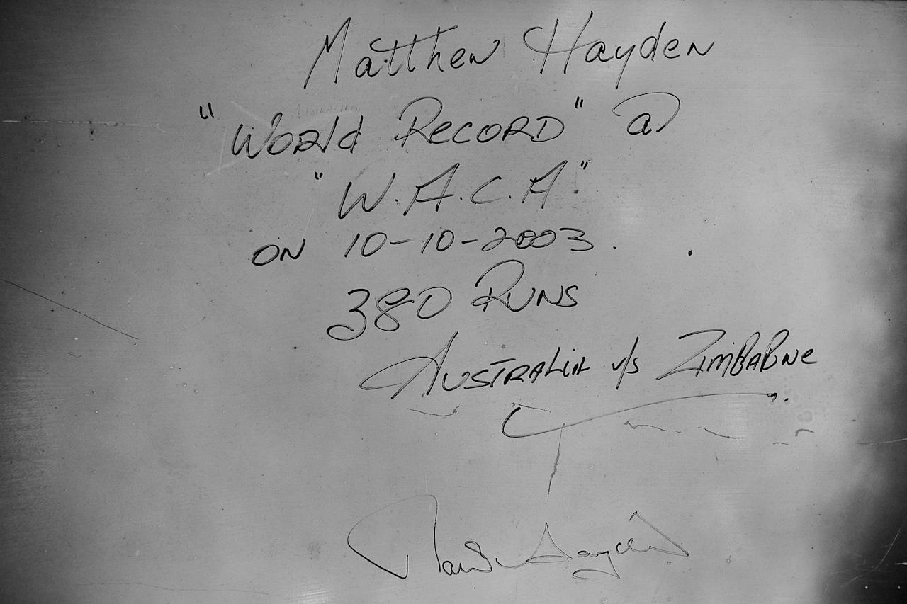 PERTH, AUSTRALIA - FEBRUARY 22:  (EDITORS NOTE: Image has been converted to black and white.) A note advising of a world record set in 1983 by Matthew Hayden is pictured written on the wall in the old WACA scoreboard during day two of the Sheffield Shield match between the Western Australia Warriors and the Tasmania Tigers at WACA on February 22, 2013 in Perth, Australia.  (Photo by Paul Kane/Getty Images)