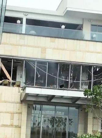 Damage is seen at Shangri-La hotel after explosions hit churches and hotels in Colombo, Sri Lanka April 21, 2019 in this still image taken from social media video. @BHANOOB/via REUTERS