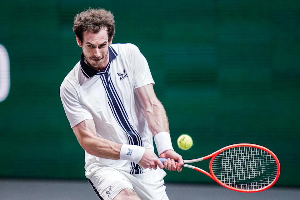 Andy Murray of Great Britain during his match against Andrey Rublev of Russia at the 48th ABN Amro Tennis World Tournament at Rotterdam Ahoy on March 3, 2021 in Rotterdam, Netherlands (Photo by Henk Seppen/BSR Agency/Getty Images)