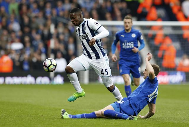 <p>West Bromwich Albion's Jonathan Leko in action with Leicester City's Andy King </p>