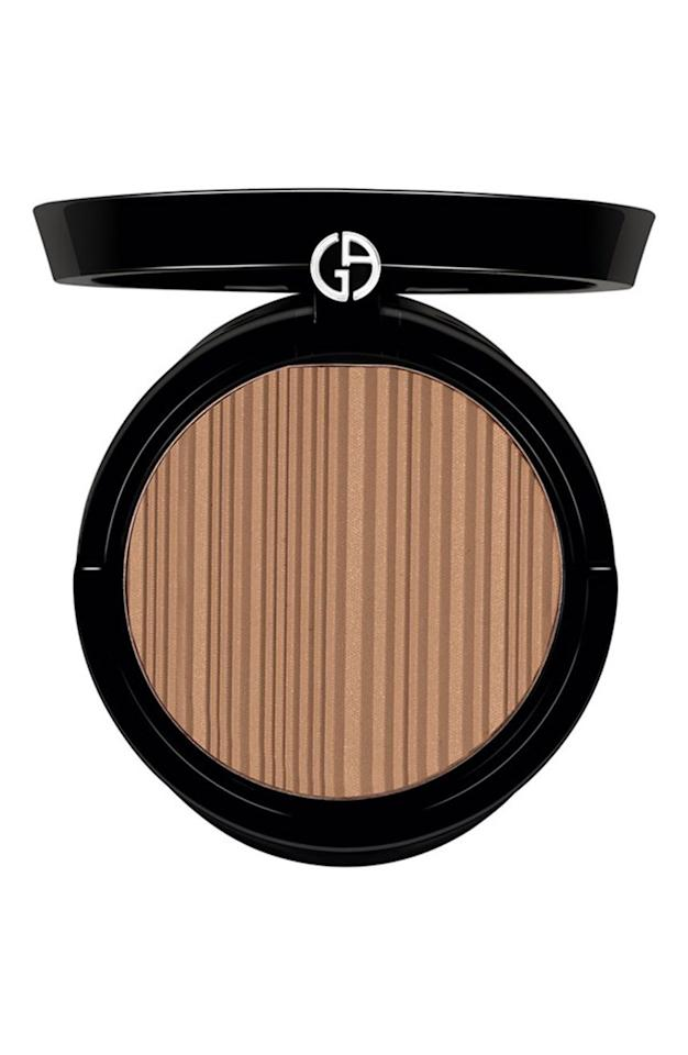 "<p><strong>Buy It! </strong>Giorgio Armani Beauty Sun Fabric Bronzer, $56; <a rel=""nofollow"" href=""https://click.linksynergy.com/fs-bin/click?id=93xLBvPhAeE&subid=0&offerid=329738.1&type=10&tmpid=6653&RD_PARM1=http%253A%252F%252Fwww.giorgioarmanibeauty-usa.com%252Fmakeup%252Fface-makeup%252Fbronzer%252Fsun-fabric-bronzer%252FA052.html&u1=POBEAUarmanipeopleperksKFAPR"">armanibeauty.com</a></p>"
