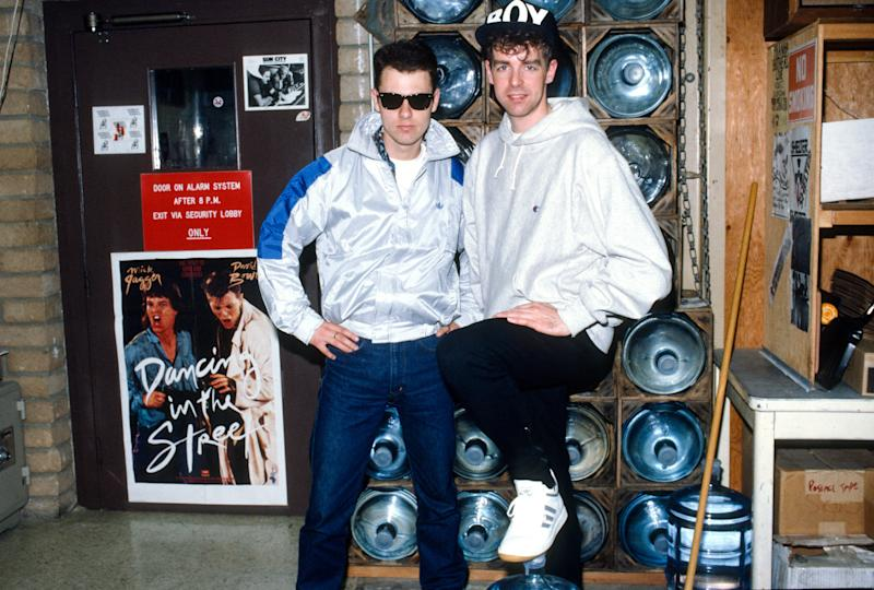 Chris Lowe and Neil Tennant of The Pet Shop Boys pose for a photo circa 1983. (Photo by Lester Cohen/Getty Images)