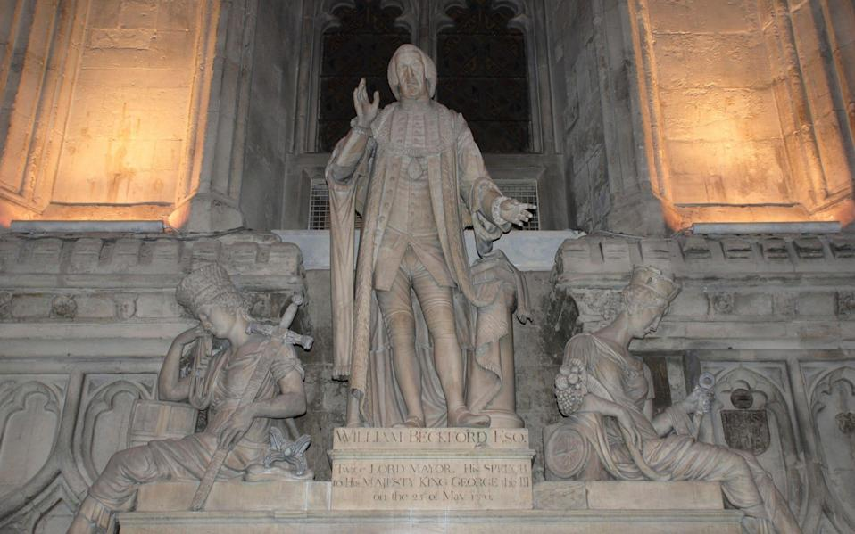 William Beckford's statue will be removed from the Guildhall in London - Alamy