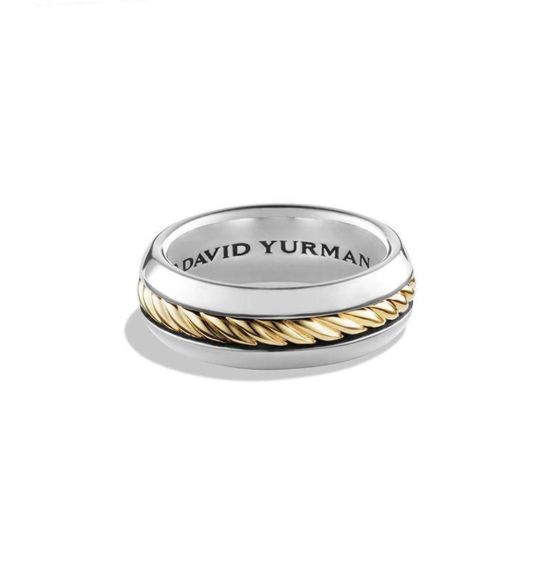 """<p><strong>David Yurman</strong></p><p>nordstrom.com</p><p><strong>$750.00</strong></p><p><a href=""""https://go.redirectingat.com?id=74968X1596630&url=https%3A%2F%2Fshop.nordstrom.com%2Fs%2Fdavid-yurman-cable-classics-band-ring-with-18k-gold%2F4042020&sref=https%3A%2F%2Fwww.esquire.com%2Fstyle%2Fmens-accessories%2Fg32854015%2Fcool-rings-for-men%2F"""" rel=""""nofollow noopener"""" target=""""_blank"""" data-ylk=""""slk:Buy"""" class=""""link rapid-noclick-resp"""">Buy</a></p><p>If you're stuck on whether to go with silver or gold, why settle for only one? </p>"""