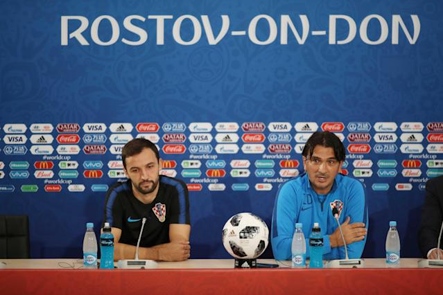 Soccer Football - World Cup - Croatia News Conference - Rostov Arena, Rostov-on-Don, Russia - June 25, 2018 Croatia's Milan Badelj and coach Zlatko Dalic during news conference REUTERS/Marko Djurica