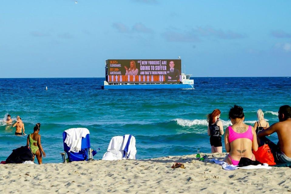 The Lincoln Project, an anti-Trump group of mostly Republicans is bringing billboards it erected in Times Square to south Florida. The billboards, fitted on a barge, will float near Mar-a-Lago the weekend before the Nov. 3, 2020 election.