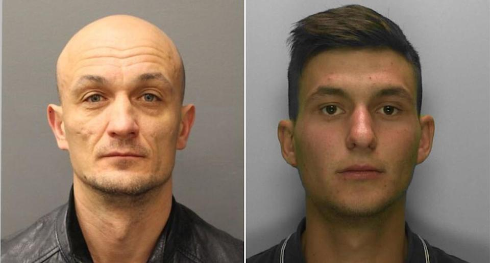 Alexandru Cimbir, 40, (left) and Andrei Rotaru, 25 (right) were jailed for 18-and-a-half years and 17 years respectively. (Met Police)