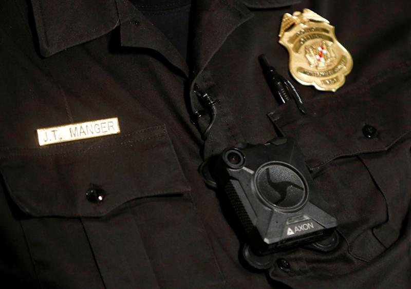 Montgomery County Police Chief J. Thomas Manger wears a body camera during an interview in Gaithersburg, Maryland, on Aug. 31, 2016. (Gary Cameron / Reuters)