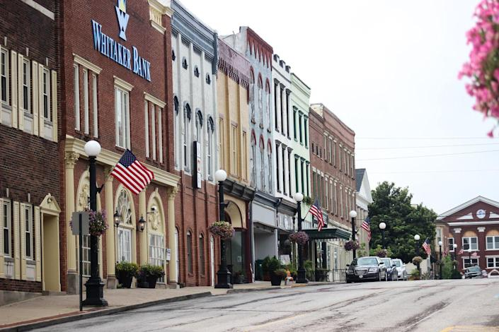 """<p><strong>Established in:</strong> 1774</p><p>Harrodsburg is the <a href=""""https://www.britannica.com/place/Harrodsburg"""" rel=""""nofollow noopener"""" target=""""_blank"""" data-ylk=""""slk:oldest permanent settlement"""" class=""""link rapid-noclick-resp"""">oldest permanent settlement</a> west of the Alleghenies and was originally called Harrodstown. There is still a replica of the original fort where Daniel Boone once lived, as well as the Lincoln Marriage Temple, where Abraham Lincoln's parents got married. </p>"""