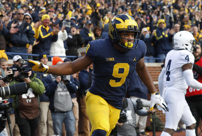 Michigan wide receiver Donovan Peoples-Jones celebrates his 23-yard touchdown reception against Penn State in the first half of an NCAA college football game in Ann Arbor, Mich., Saturday, Nov. 3, 2018. (AP Photo/Paul Sancya)
