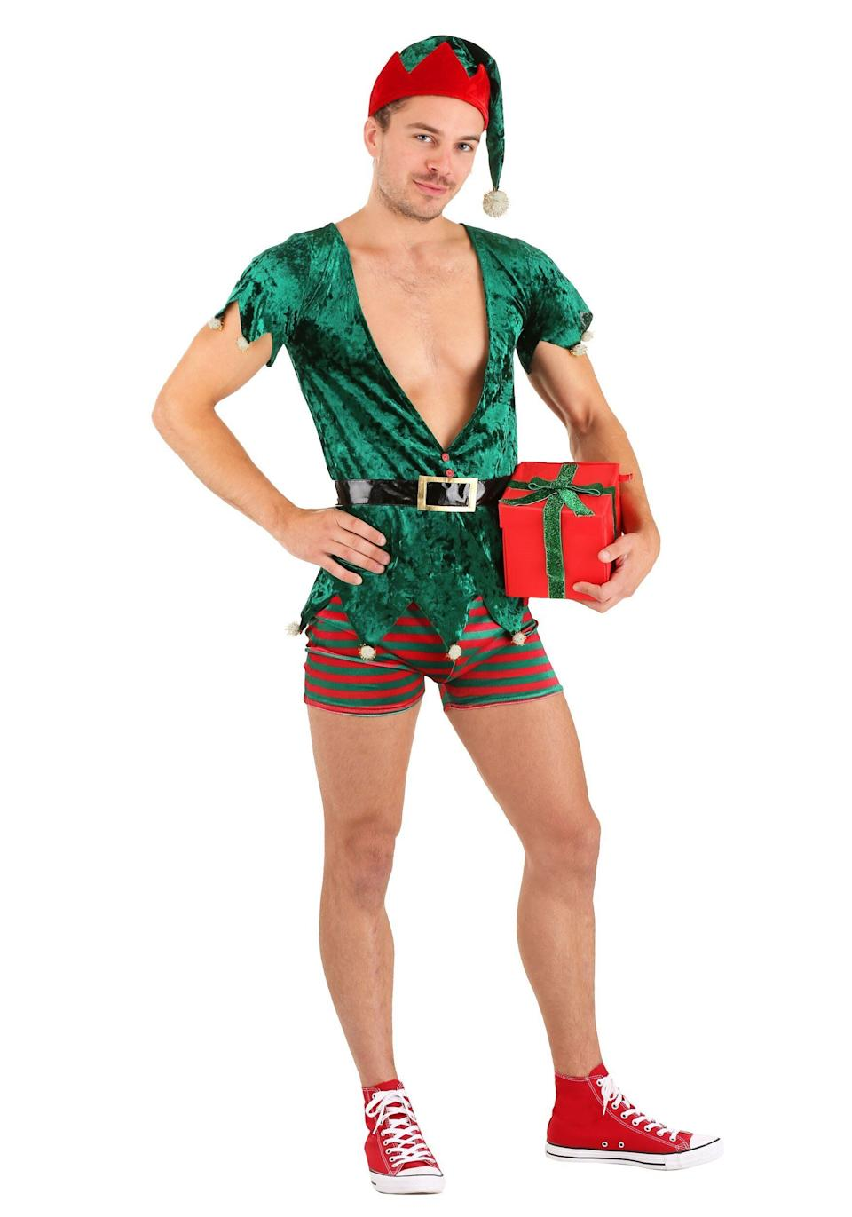 """If you're one of those people who fantasize about the romantic goings-on in Santa's workshop, this <a href=""""https://www.halloweencostumes.com/mens-sexy-christmas-elf-costume.html"""" target=""""_blank"""" rel=""""noopener noreferrer"""">sexy elf costume</a> is perfect for role playing."""