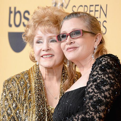 A photograph of Debbie Reynolds and Carrie Fisher
