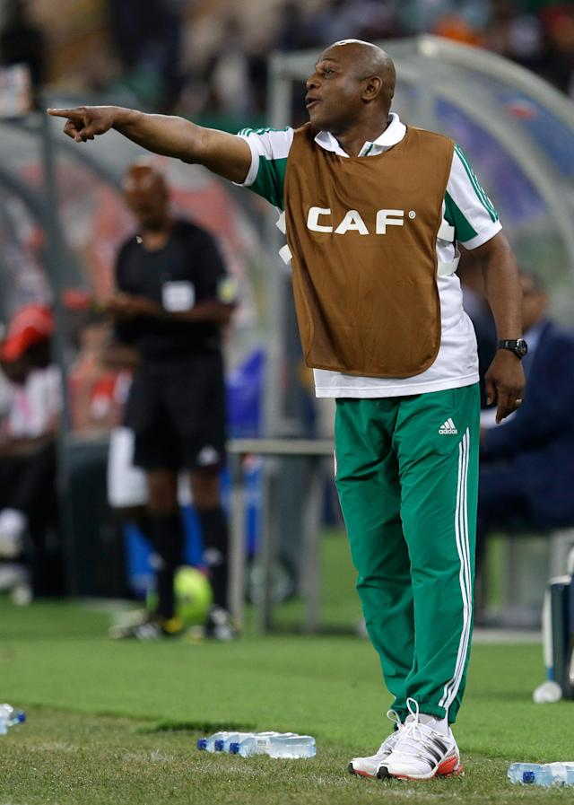 FILE - In this Feb. 10, 2013, file photo, Nigeria's head coach Stephen Keshi gestures during their African Cup of Nations final with Burkina Faso at the Soccer City Stadium in Johannesburg, South Africa. After impressing on their way to the second round in each of their first two FIFA World Cup appearances, 1994 and 1998, Nigeria have struggled since: going out at the group stage three times while taking just two points from their last eight matches in the finals. (AP Photo/Armando Franca, File)