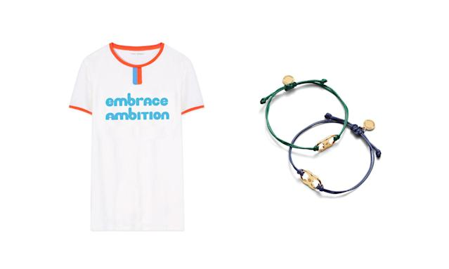 "<p>100% of the proceeds from the Embrace Ambition collection benefits the <a href=""http://www.toryburchfoundation.org/"" rel=""nofollow noopener"" target=""_blank"" data-ylk=""slk:Tory Burch Foundation"" class=""link rapid-noclick-resp"">Tory Burch Foundation</a>, which provides access to capital, education, and digital resources for women entrepreneurs.<br><br>Embrace Ambition Ringer T-Shirt, $35,<a href=""https://www.toryburch.com/embrace-ambition-ringer-t-shirt/29805.html"" rel=""nofollow noopener"" target=""_blank"" data-ylk=""slk:toryburch.com"" class=""link rapid-noclick-resp""> toryburch.com</a><br> Embrace Ambition Bracelet, $30, <a href=""https://www.toryburch.com/embrace-ambition-bracelet/41568.html"" rel=""nofollow noopener"" target=""_blank"" data-ylk=""slk:toryburch.com"" class=""link rapid-noclick-resp"">toryburch.com</a> </p>"