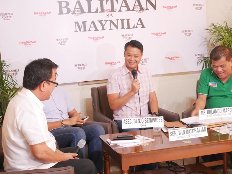 Senator Sherwin Gatchalian (middle) discussed the necessity of mandatory ROTC at a press conference in Manila this month. Photo: Rachel Malaguit