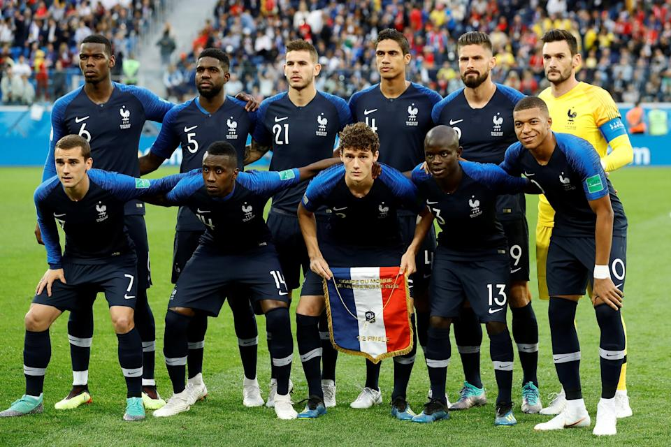 Players of France pose for a photo before the 2018 FIFA World Cup Russia semi final match between France and Belgium. (Getty Images)