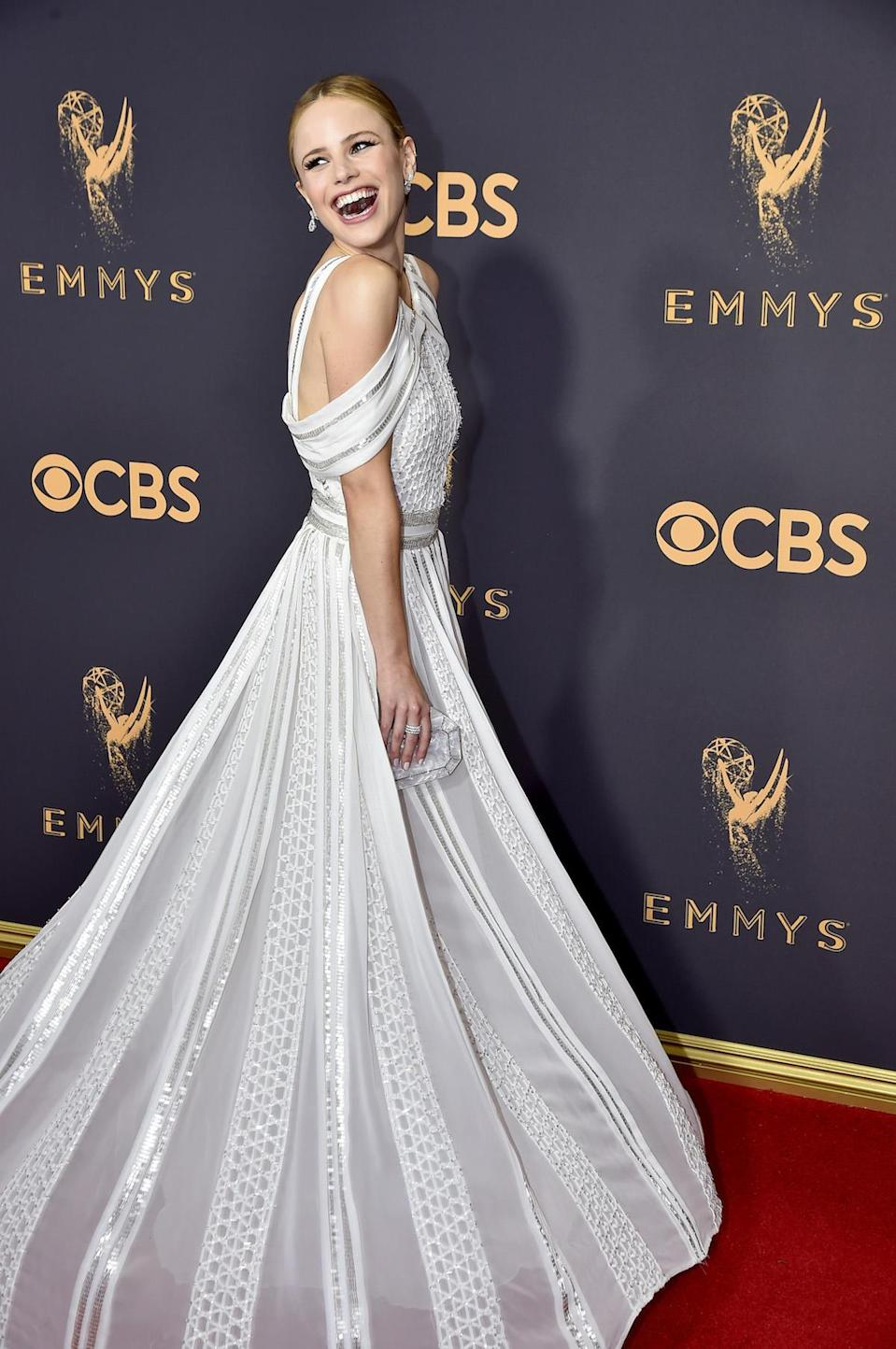 <p>Halston Sage attends the 69th Primetime Emmy Awards on Sept. 17, 2017.<br> (Photo: Getty Images) </p>