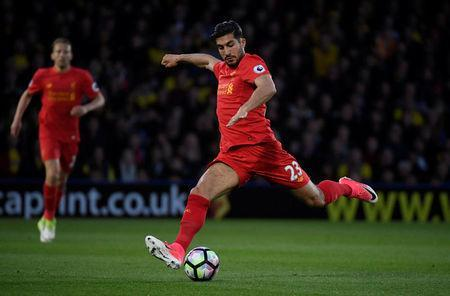 Britain Football Soccer - Watford v Liverpool - Premier League - Vicarage Road - 1/5/17 Liverpool's Emre Can Reuters / Toby Melville Livepic