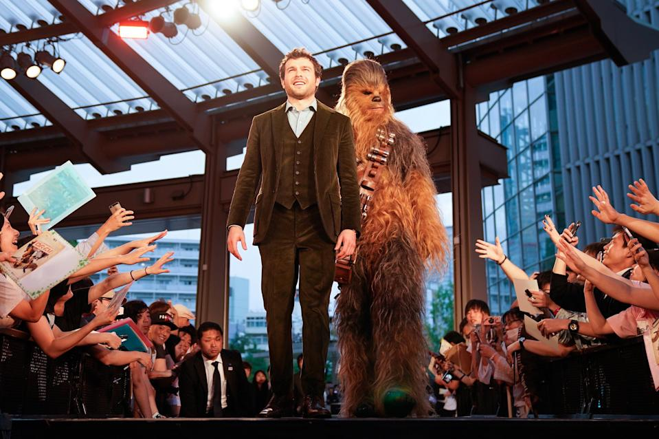 TOKYO, JAPAN - JUNE 12: Alden Ehrenreich attends the premiere for 'Solo: A Star Wars Story' at Roppongi Hills on June 12, 2018 in Tokyo, Japan.  (Photo by Ken Ishii/Getty Images  for Disney)