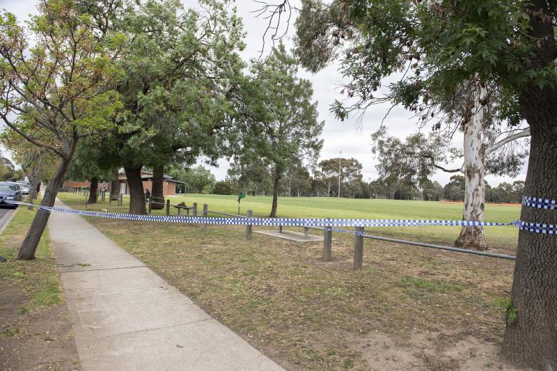 The Melbourne park with police tape around it.