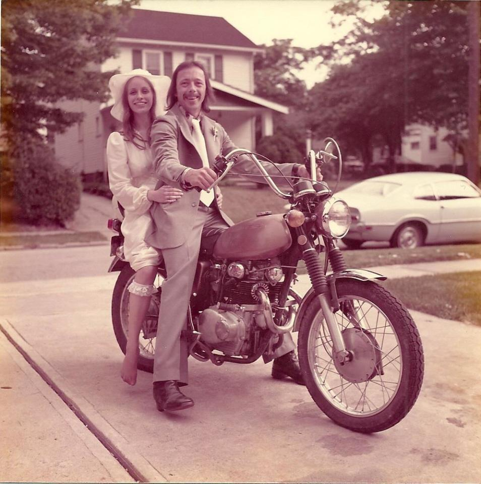 "<p>1975: Just Married</p><p>The newlyweds pose on a brother's Honda motorcycle for a photo on their special day. (Source: <a href=""https://www.reddit.com/r/pics/comments/3d0o91/my_parents_celebrate_their_40th_anniversary_today/"">Reddit</a>)</p>"