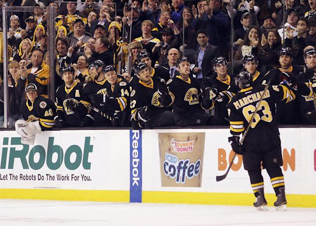 BOSTON, MA - DECEMBER 19: Brad Marchand #63 of the Boston Bruins returns to the bench after scoring at 14:14 of the third period against the Montreal Canadiens at the TD Garden on December 19, 2011 in Boston, Massachusetts. The Bruins defeated the Canadiens 3-2. (Photo by Bruce Bennett/Getty Images)