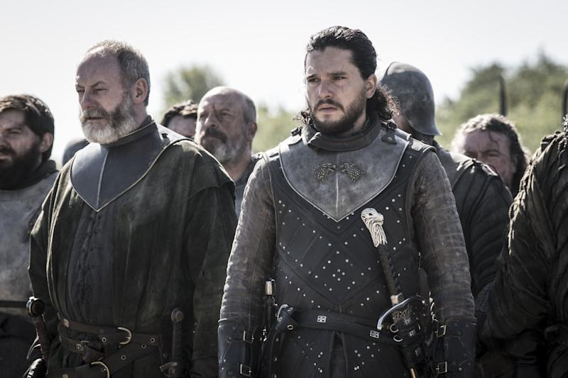 Ser Davos and Jon prepare for yet another battle (Photo: Helen Sloan/HBO)