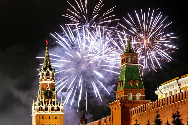 Fireworks explode over the Kremlin in Moscow during New Year celebrations, on January 1, 2020. | Dimitar Dilkoff—AFP/Getty Images