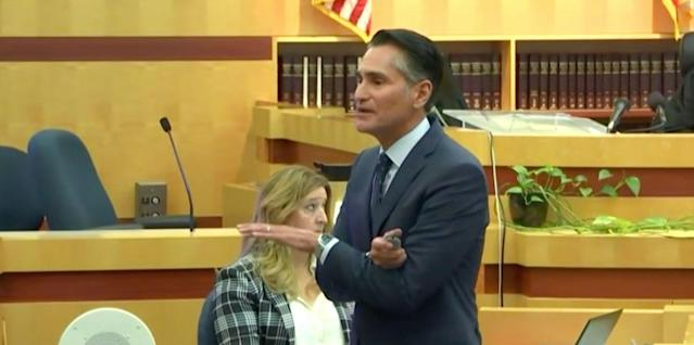 Kellen Winslow's attorney Marc Carlos delivers his closing argument to the jury on Tuesday. (CourtTV)