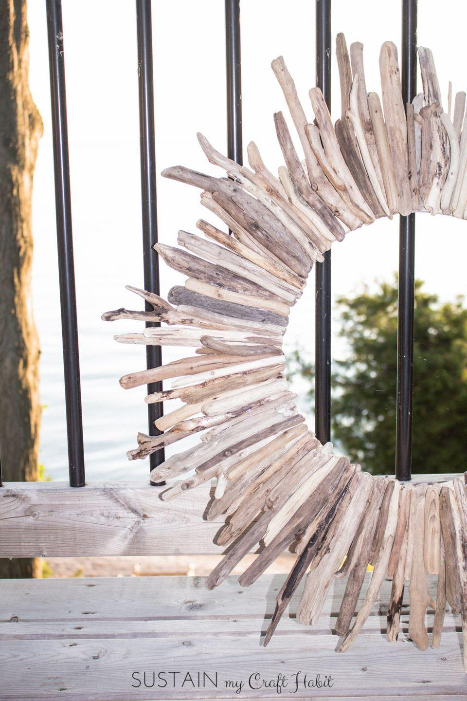 "<p>Always gathering driftwood during your beach vacations? Turn your collection into a DIY wreath!</p><p><strong>Get the tutorial at <a href=""https://www.sustainmycrafthabit.com/blog/2016/6/22/how-to-make-a-diy-driftwood-wreath?rq=wreath"" rel=""nofollow noopener"" target=""_blank"" data-ylk=""slk:Sustain My Craft Habit"" class=""link rapid-noclick-resp"">Sustain My Craft Habit</a>. </strong></p><p><a class=""link rapid-noclick-resp"" href=""https://www.amazon.com/Rust-Oleum-1906830-Lacquer-Spray-11-Ounce/dp/B0009XCKGA?tag=syn-yahoo-20&ascsubtag=%5Bartid%7C10050.g.4395%5Bsrc%7Cyahoo-us"" rel=""nofollow noopener"" target=""_blank"" data-ylk=""slk:SHOP CLEAR LACQUER SPRAY"">SHOP CLEAR LACQUER SPRAY</a> </p>"