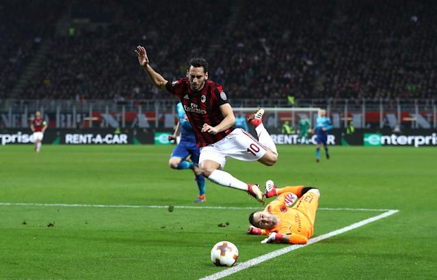 AC Milan's Hakan Calhanoglu was unlucky not to earn an early penalty