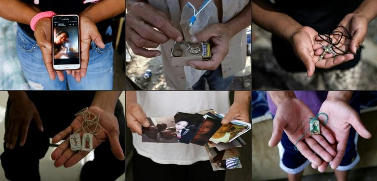 This combination of pictures shows migrants holding their most valuable belongings (Top L to R) Venezuelan migrant Faviola Lourido Vergara, Mexican deported migrant Angel Ayala, Honduran migrant Sandra, (Bottom L to R) Victorino Ramos Chavarria, Mexican Faustino Castillon, and Mexican Juan Israel Rodriguez Tejeda