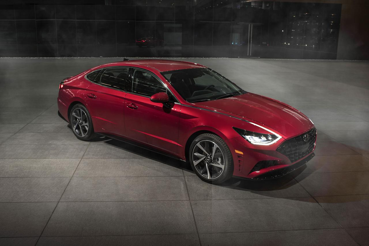 "<p>Gazing upon <a rel=""nofollow"" href=""https://www.caranddriver.com/hyundai/sonata"">the new 2020 Hyundai Sonata</a> in person brings the design to life and makes the car's eighth-generation overhaul even more impressive than what we could gather from <a rel=""nofollow"" href=""https://www.caranddriver.com/news/a26692381/2020-hyundai-sonata-photos-info/"">its initial photos</a>. Every detail is dripping with artistic influence: the extremely low hood, the shapely roofline that's an inch lower than before, and the significant depth found in the body sides. The rear deck is shorter, the overall diameter of the tires slightly larger. From the side, two prominent creases playfully converge and then diverge again as they run from front to back.</p>"