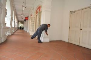 Maintenance man at Raffles Hotel