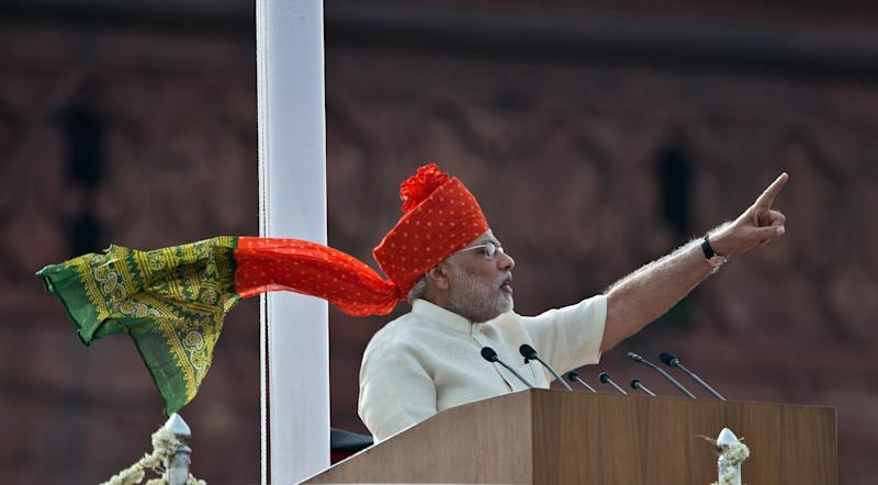 File photo of India's Prime Minister Narendra Modi delivering a speech to mark the country's Independence Day in New Delhi, August 15, 2014