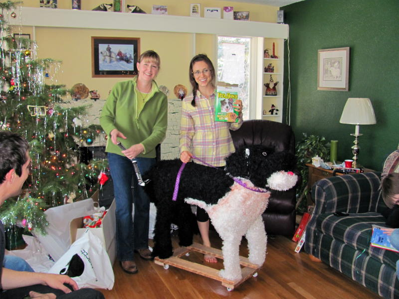 This 2010 photo released by Katie Jackson shows, Margaret Smith, left, and her niece Katie Jackson with a stuffed dog Jackson received for Christmas in Lewistown, Mont. For the past three years, Jackson has asked for a Leonberger, one of those gentle giant breeds that can cost up to $1,500 and would occupy a good chunk of her Long Island City apartment.  While her parents have good reasons for not granting her wish, including cost and size, other people aren't so sure why their numerous gift hints year after year yield a big fat nothing, even when their sought-after treasures aren't out-of-this-world expensive. (AP Photo/Becky Jackson)