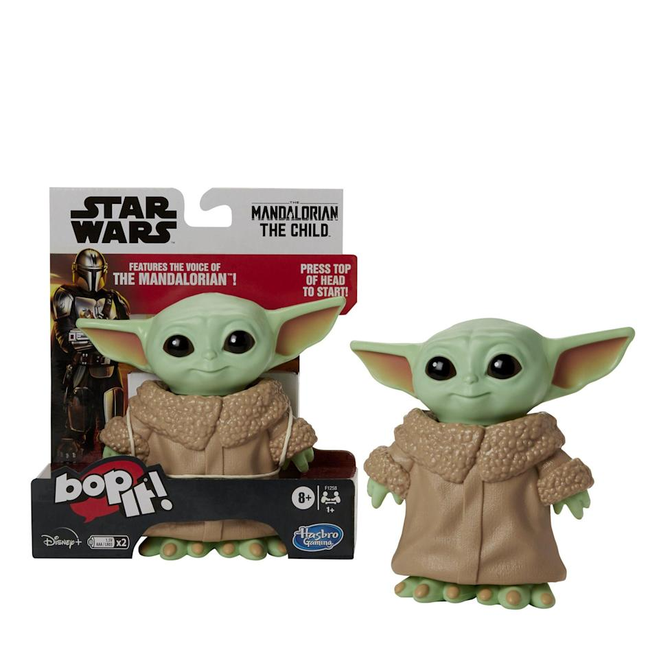 """<p><strong>Hasbro</strong></p><p>walmart.com</p><p><strong>$14.88</strong></p><p><a href=""""https://go.redirectingat.com?id=74968X1596630&url=https%3A%2F%2Fwww.walmart.com%2Fip%2F728845252&sref=https%3A%2F%2Fwww.bestproducts.com%2Fparenting%2Fg34074265%2Fwalmart-top-toys-of-2020%2F"""" rel=""""nofollow noopener"""" target=""""_blank"""" data-ylk=""""slk:Shop Now"""" class=""""link rapid-noclick-resp"""">Shop Now</a></p><p>Baby Yoda is pretty much the cutest creature to come out of the <em>Star Wars</em> series. Combining this adorable face with the classic Bop It toy is a must have. Designed to be played just like the regular Bop It game, this one features original sounds from <em>The Mandalorian</em> and Baby Yoda's voice. </p>"""