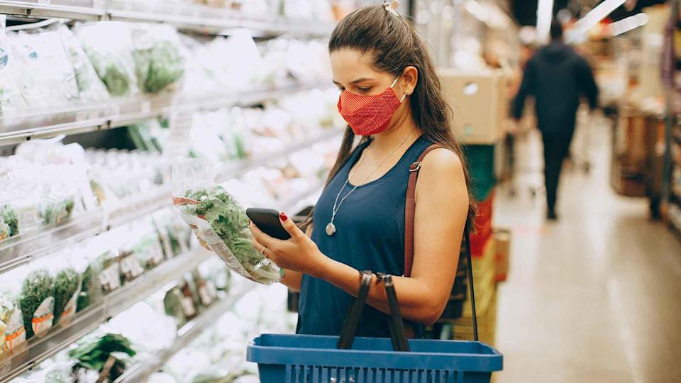 Woman shopping in a supermarket