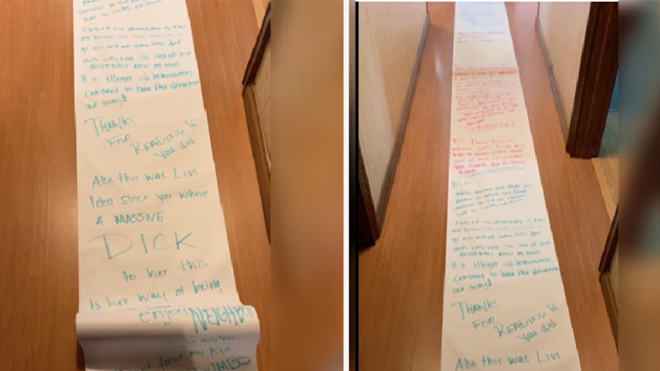 Side by side image of 15-metre long note addressed to neighbour