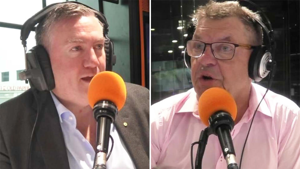 Eddie McGuire (pictured left) argues with Steve Price (pictured right) on air.