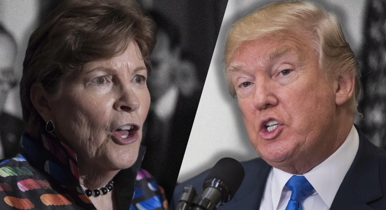 Sen. Jeanne Shaheen, D-N.H. and President Donald Trump. (Photo illustration: Yahoo News; photos: J. Scott Applewhite/AP, Jabin Botsford/The Washington Post via Getty Images)