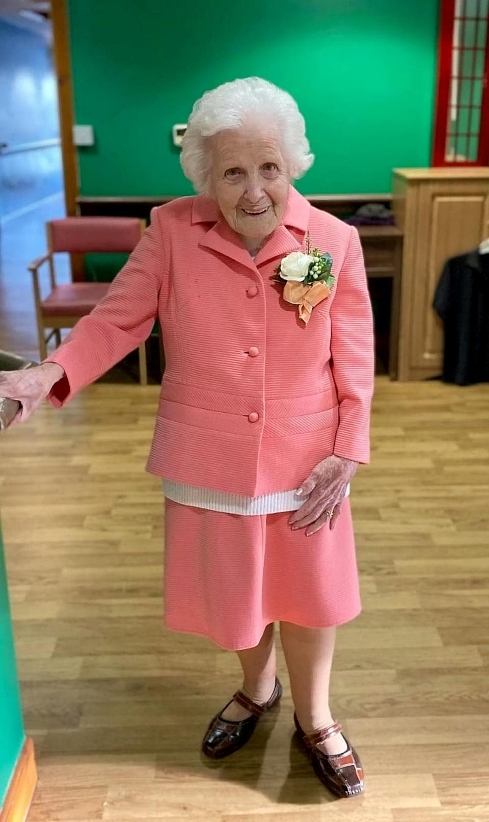 Her family and friends joined her celebrations at a nursing home in Scotland. [Photo: SWNS]
